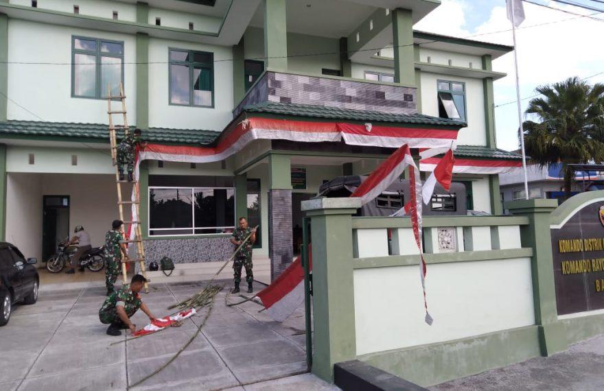 """Semangat 45"""", Kodim Tabanan Hias Pangkalan Dengan Nuansa Merah Putih/fajarbadung.com"""