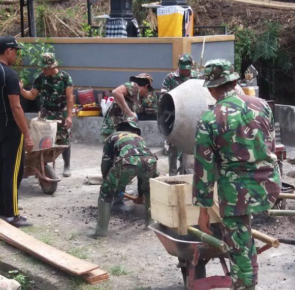 Pra TMMD Ke 106 Kodim Tabanan Mulai Mengecor Dasar Pondasi Tiang Pancang/fajarbadung.com