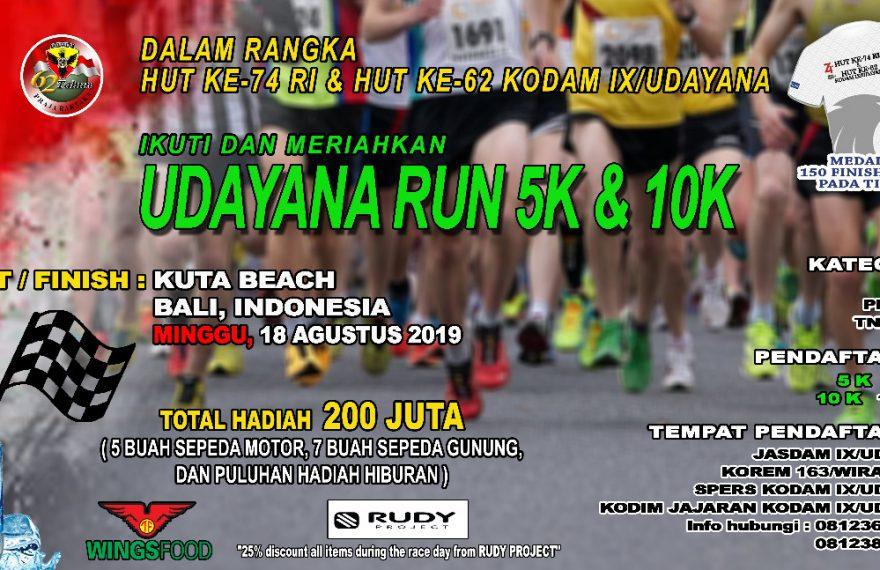 Peringati HUT RI Ke-74, Kodam IX/Udayana Gelar Udayana Run 2019/fajarbadung.com