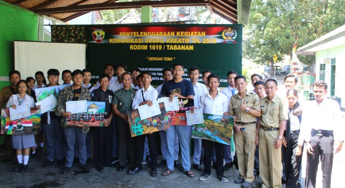 Komsos Kreatif, Kodim Tabanan Gelar Lomba Lukis Tingkat SMA/SMK Se Kabupaten Tabanan/fajarbadung.com