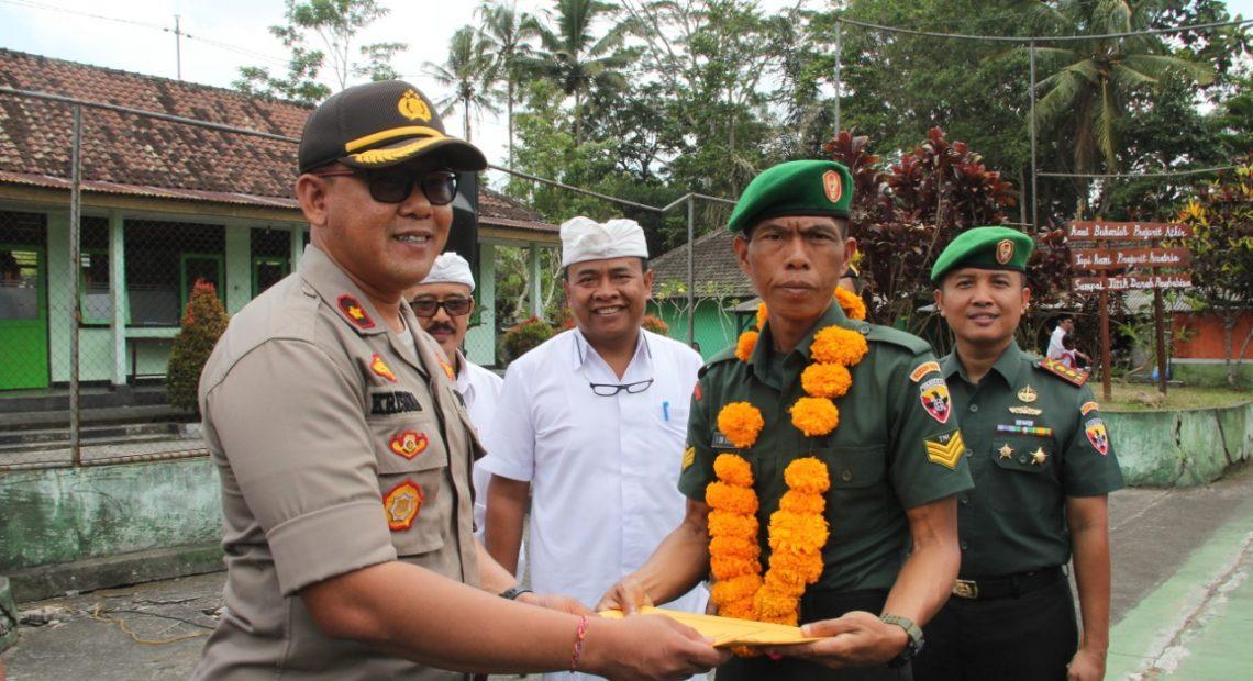 Polres Berikan Bantuan Kepada Atlet Kodim 1626 Bangli Serka Dewa Astawa, Saat Syukuran HUT ke-74 TNI/fajarbadung.com