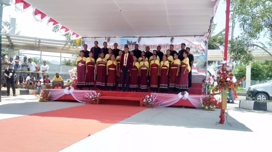 5 Grup Nyanyi Asal Timor Leste Ikut Festival Paduan Suara Gerejawi Indonesia – Timor Leste Tahun 2019 di PLBN Mota'ain/fajarbadung.com