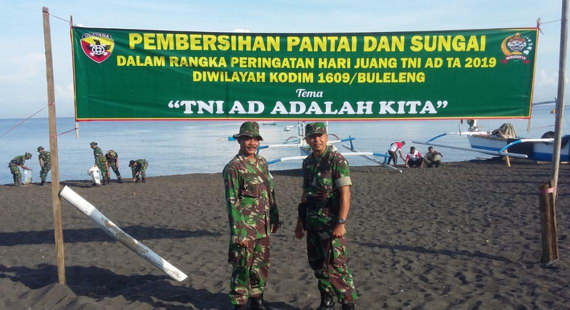 Jelang Hari Juang TNI AD, Kodim Buleleng Laksanakan Karya Bakti Bersih Sampah Plastik/fajarbadung.com