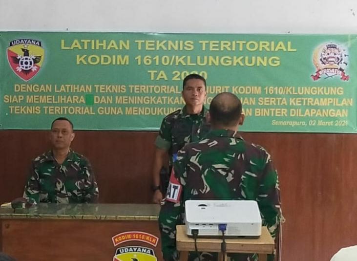 Kodim Klungkung Gelar Latihan Teknis Teritorial 2020/fajarbadung.com