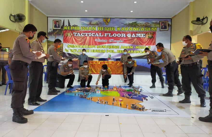 Kapolres Karangasem Pimpin Pelaksanaan Tactical Floor Game Simulasi Kontijensi Aman Nusa Agung II/fajarbadung.com